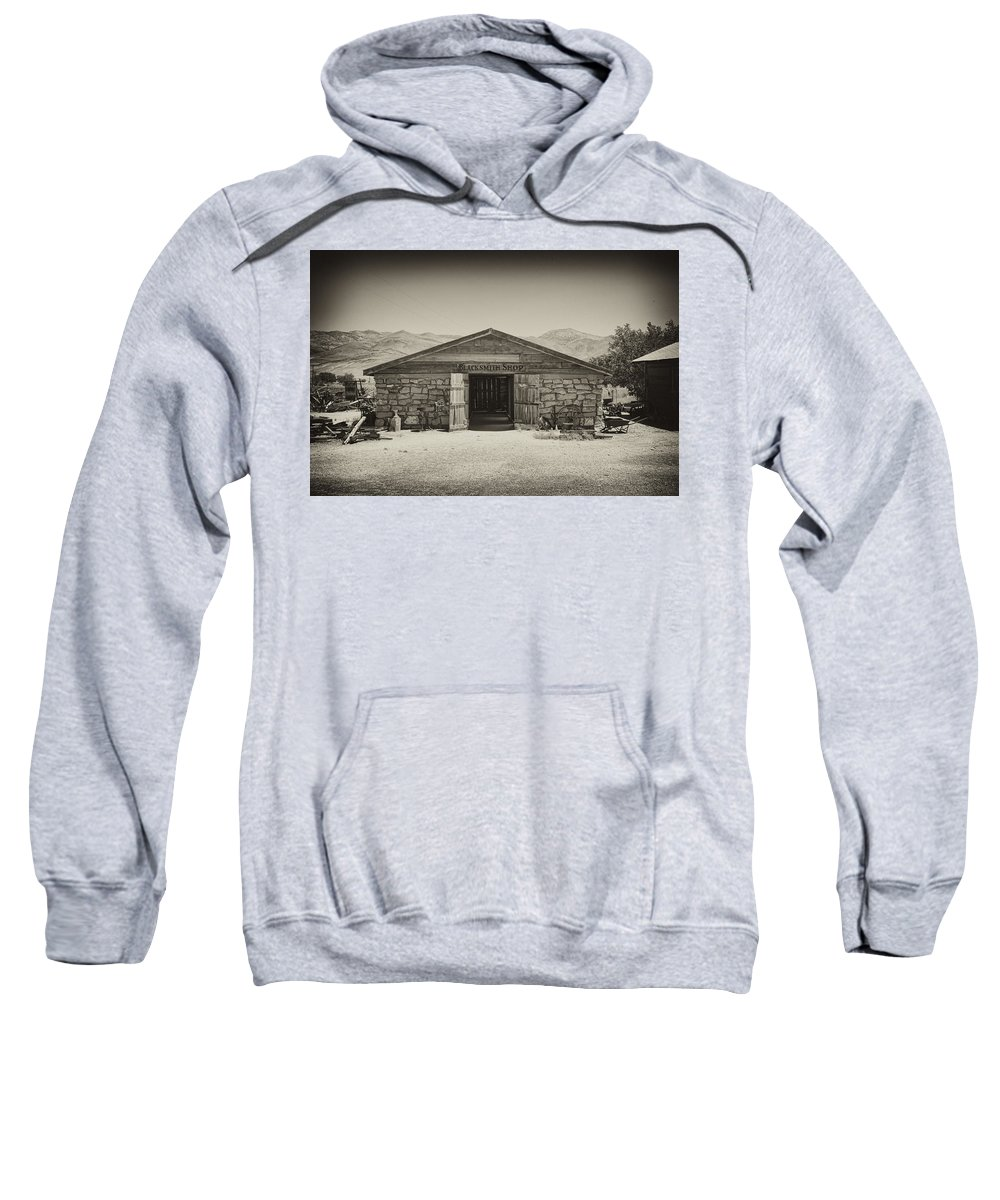 Laws Sweatshirt featuring the photograph Laws Blacksmith Shop by Hugh Smith