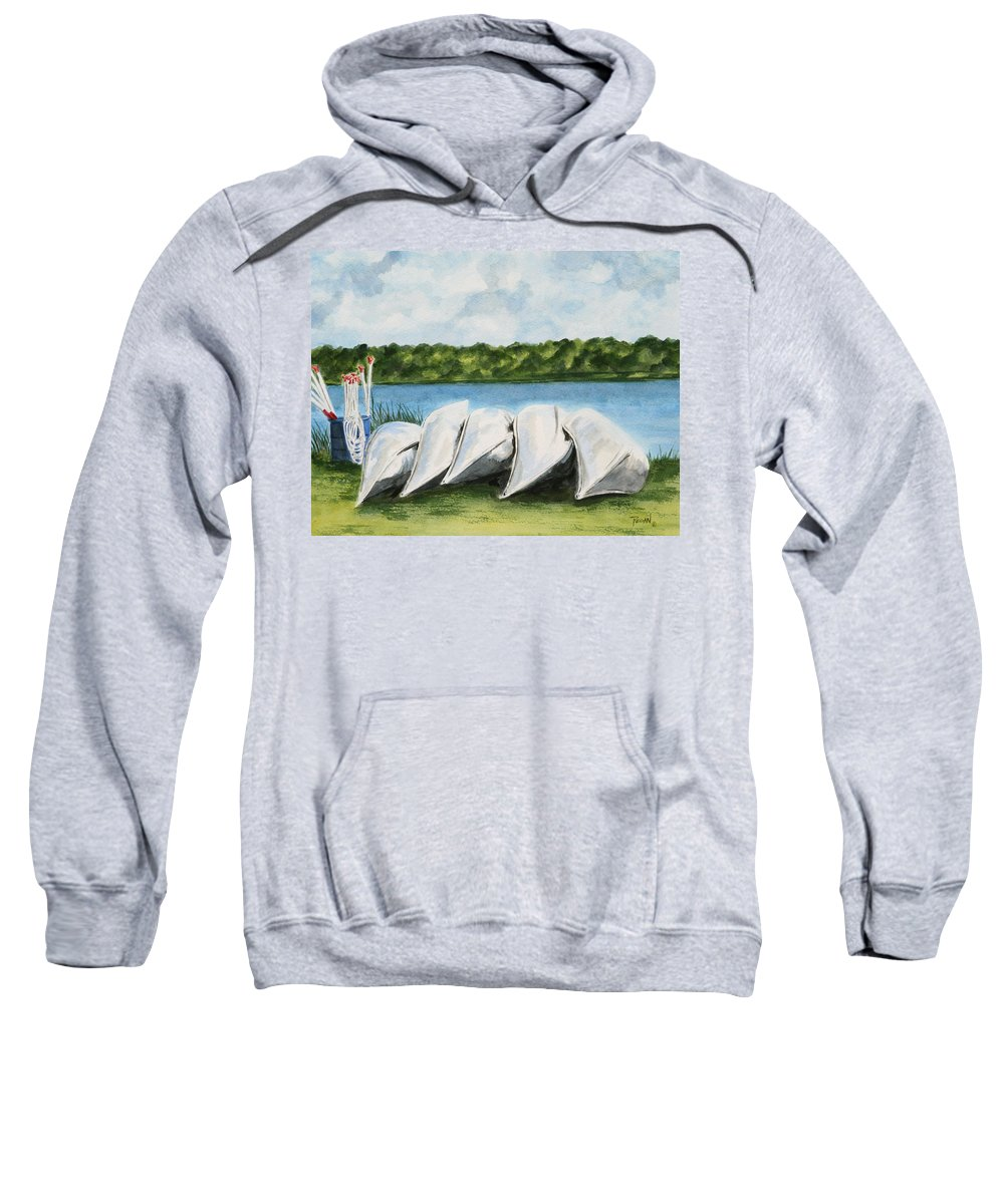 Canoes Sweatshirt featuring the painting Lazy River by Regan J Smith