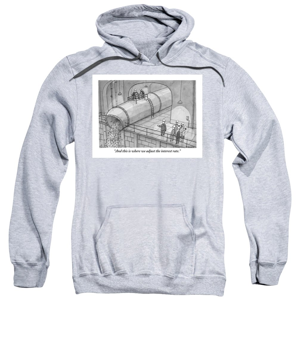 Money Sweatshirt featuring the drawing Leading A Federal Reserve Tour Group by Jason Patterson