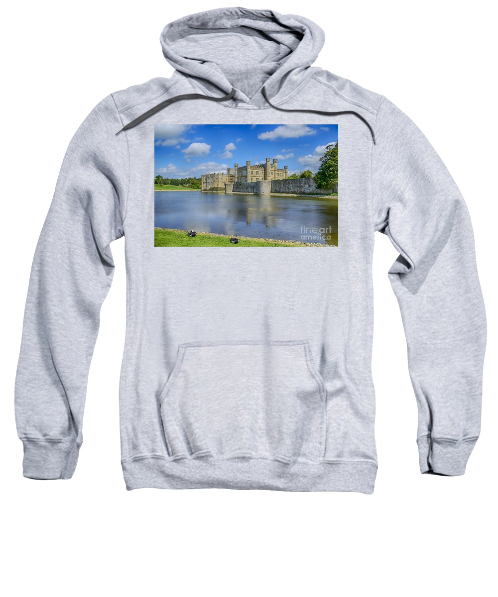 Leeds Castle Canvas Sweatshirt featuring the photograph Leeds Castle Moat 2 by Chris Thaxter