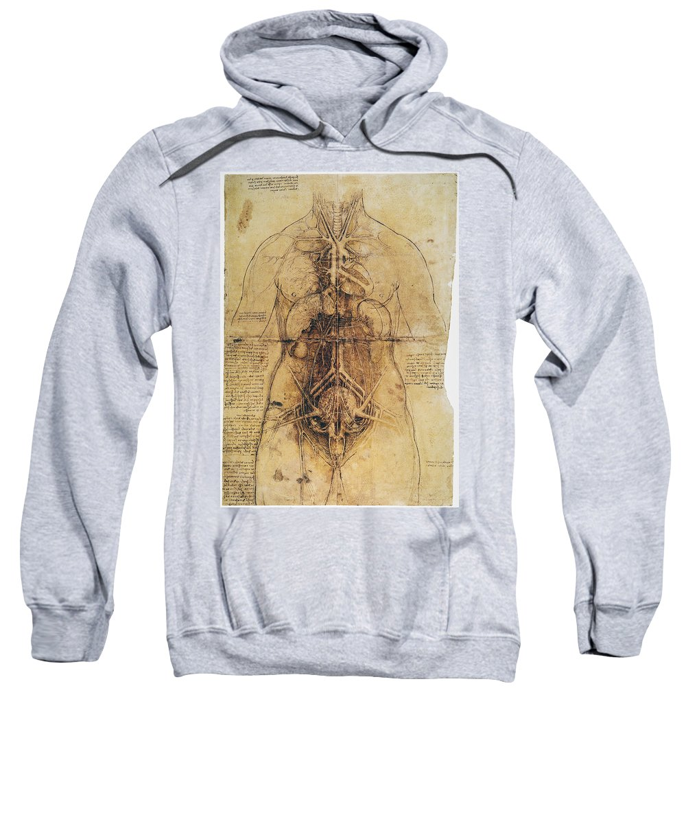 1510 Sweatshirt featuring the photograph Leonardo: Anatomy, C1510 by Granger