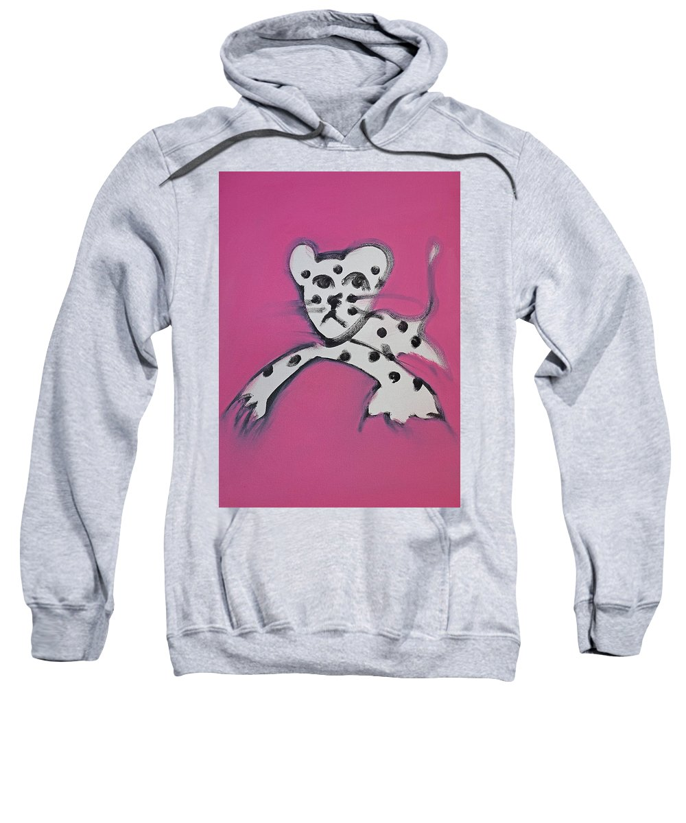 Leopard Sweatshirt featuring the painting Leopard by Charles Stuart