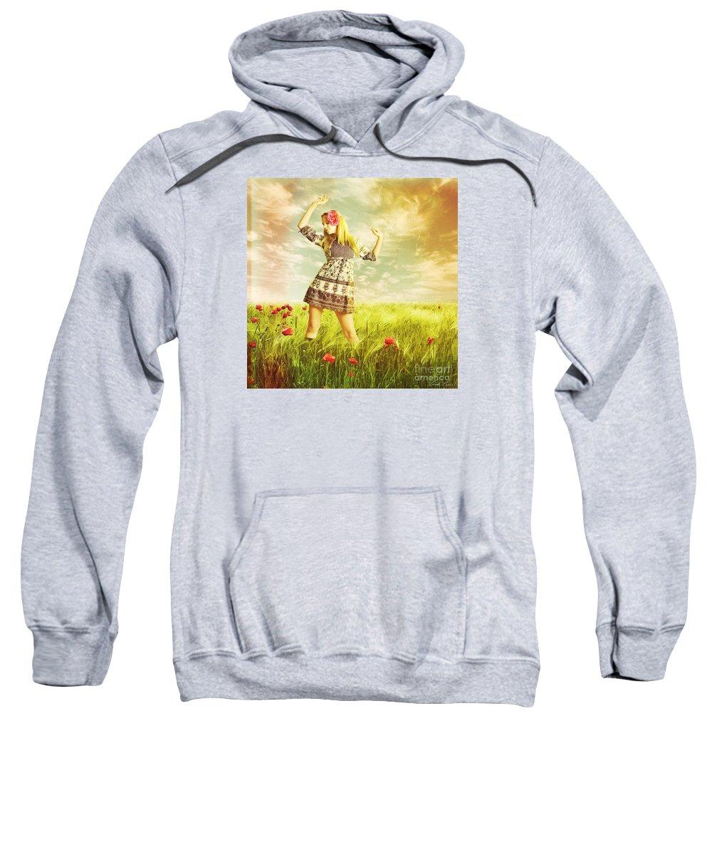 Landscape Sweatshirt featuring the digital art Let Us Dance In The Sun by Linda Lees
