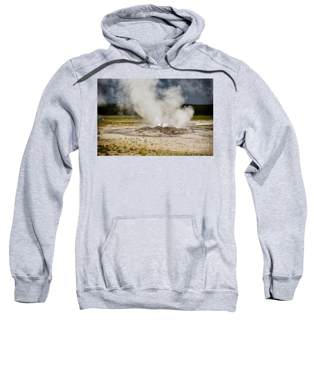 Paint Pots Sweatshirt featuring the photograph Letting Off Steam - Yellowstone by Belinda Greb