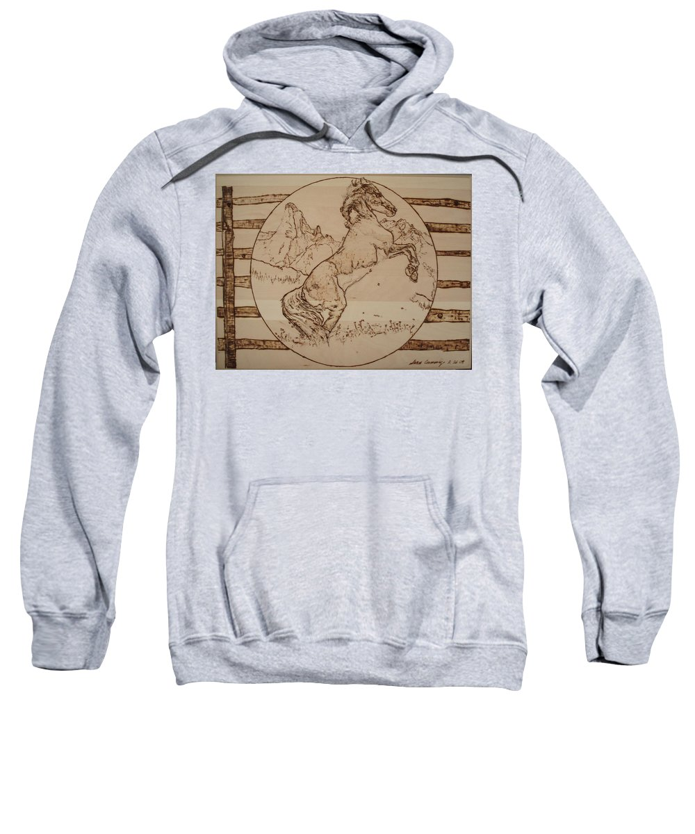 Pyrography Sweatshirt featuring the pyrography Wild Horse by Sean Connolly
