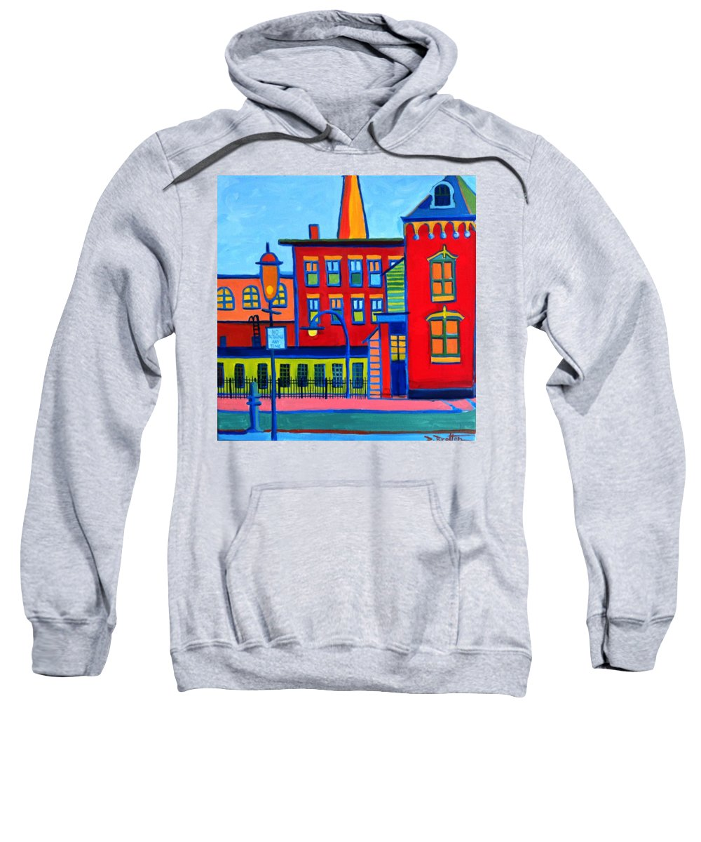 Landscape Sweatshirt featuring the painting Life Revolving in the City Lowell MA by Debra Bretton Robinson