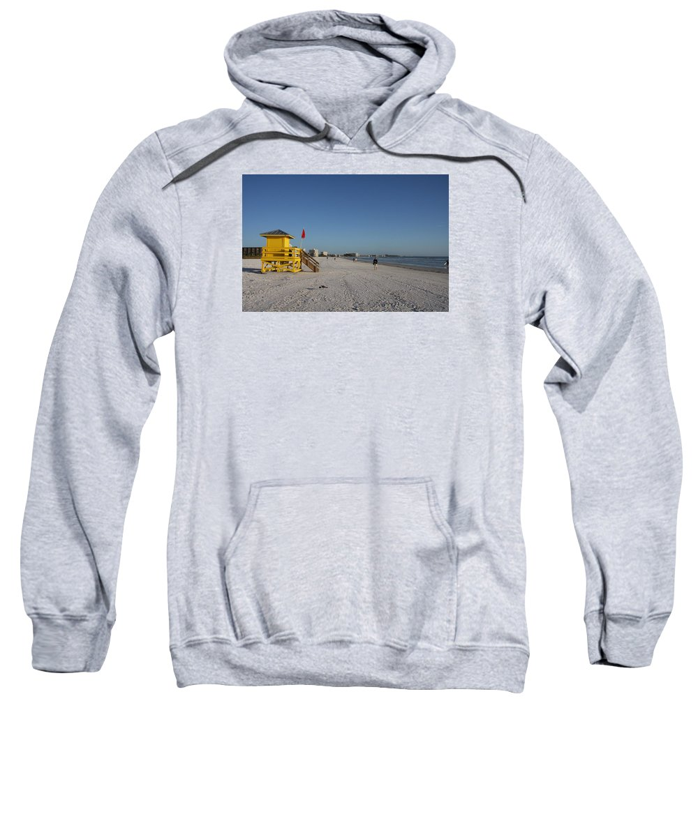 Lifegard Sweatshirt featuring the photograph Lifeguard On Siesta Key by Christiane Schulze Art And Photography
