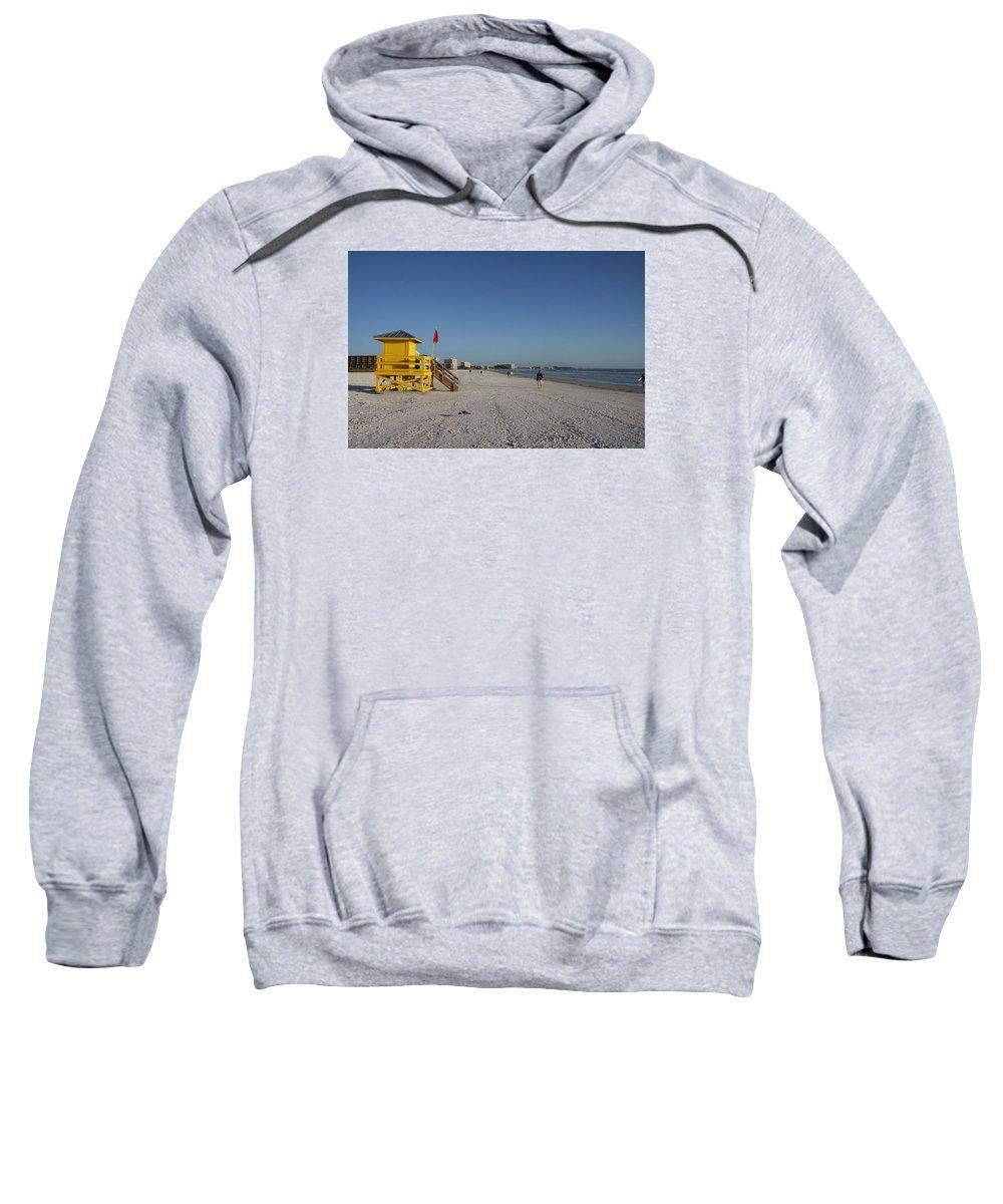 Lifegard Sweatshirt featuring the photograph Lifeguard On Siesta Key by Christiane Schulze Art And Photography