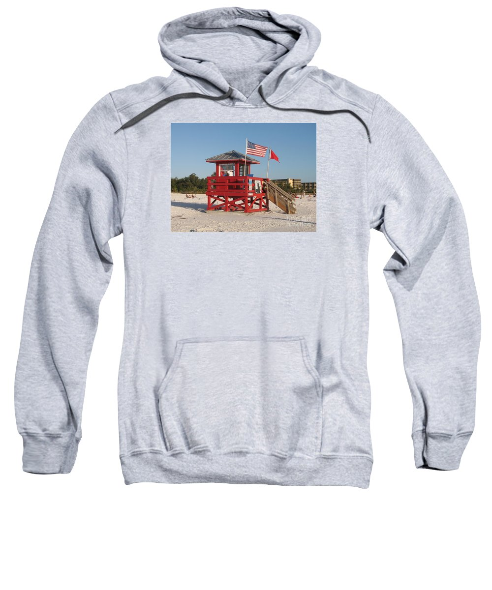 Beach Sweatshirt featuring the photograph Lifeguard Siesta Beach by Christiane Schulze Art And Photography