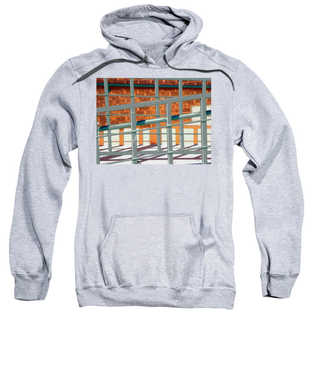 Abstract Sweatshirt featuring the photograph Light On The Railings by Lenore Senior