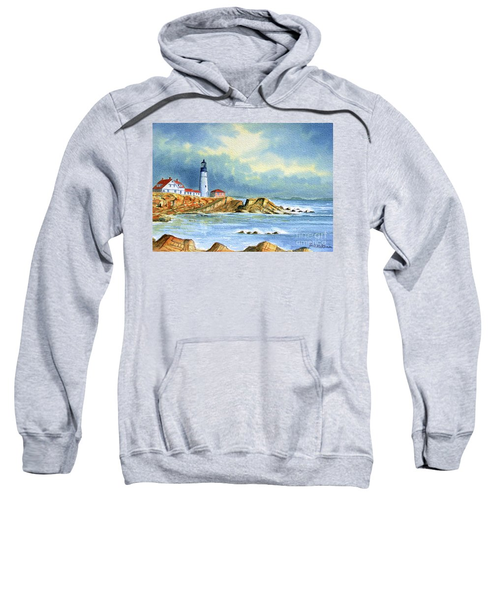 Lighthouse Sweatshirt featuring the painting Lighthouse At Portland Head Maine by Bill Holkham