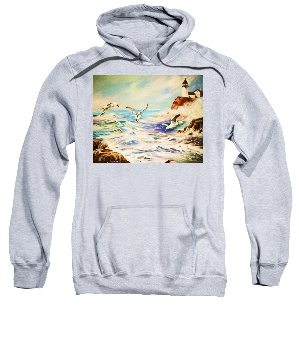 Lighthouse Sweatshirt featuring the painting Lighthouse Gulls And Waves by Al Brown
