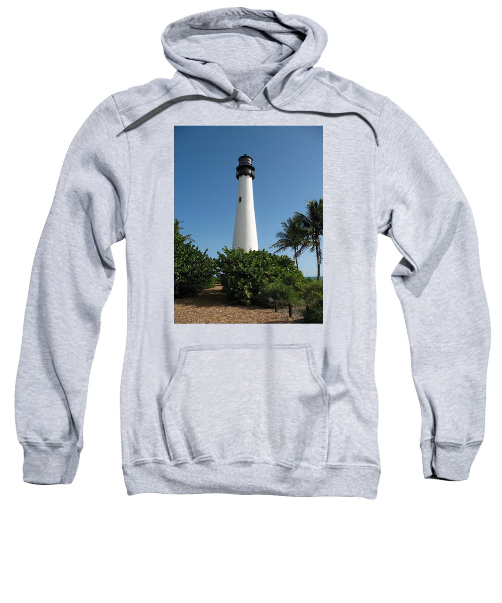 Light Sweatshirt featuring the photograph Lighthouse On Key Biscayne by Christiane Schulze Art And Photography
