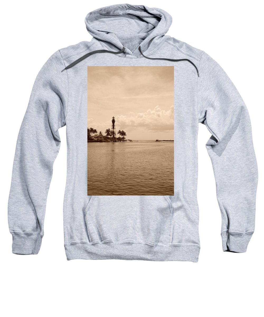 Sepia Sweatshirt featuring the photograph Lighthouse Point by Rob Hans