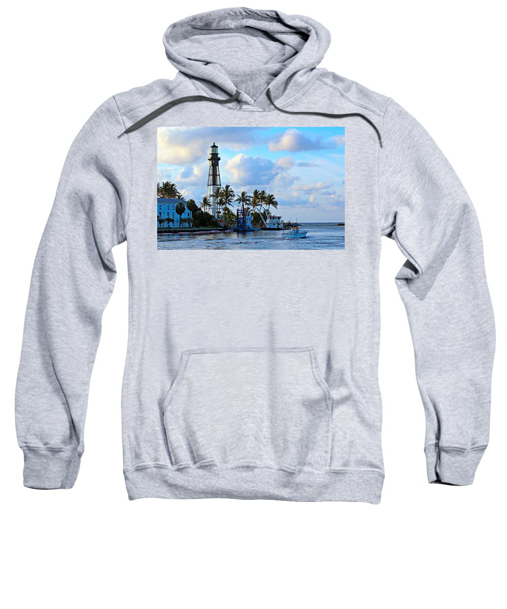 America Sweatshirt featuring the photograph Lighthouse Sunrise by Paul Fell