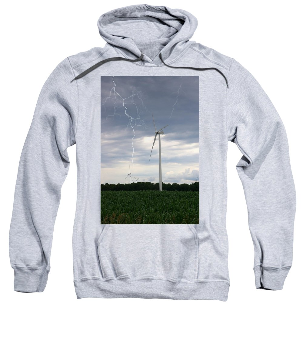 Lightning Sweatshirt featuring the photograph Lightning Turbine by Randy Pollard
