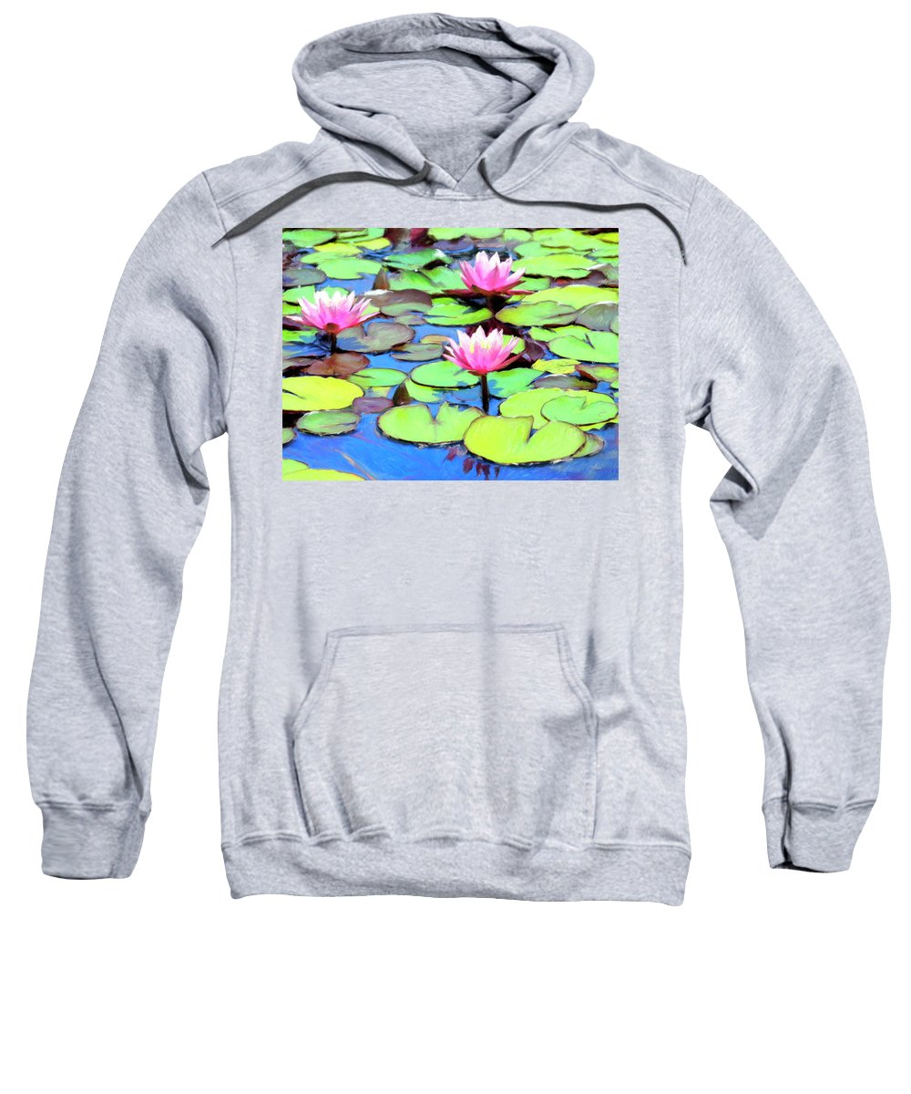 Lily Pond Sweatshirt featuring the painting Lily Pond by Dominic Piperata