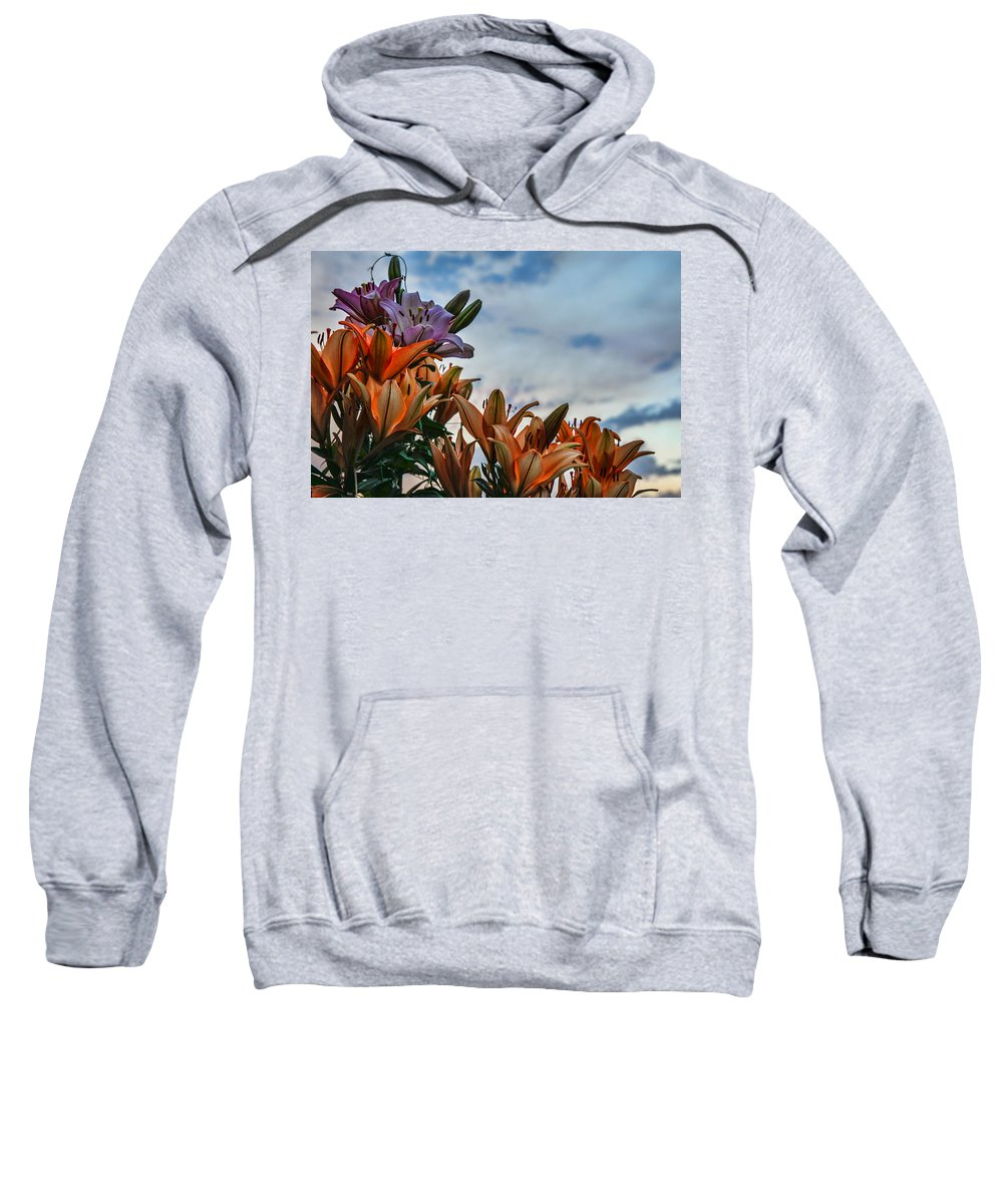Lily Sweatshirt featuring the photograph Lilys At La Fonda by Diana Powell