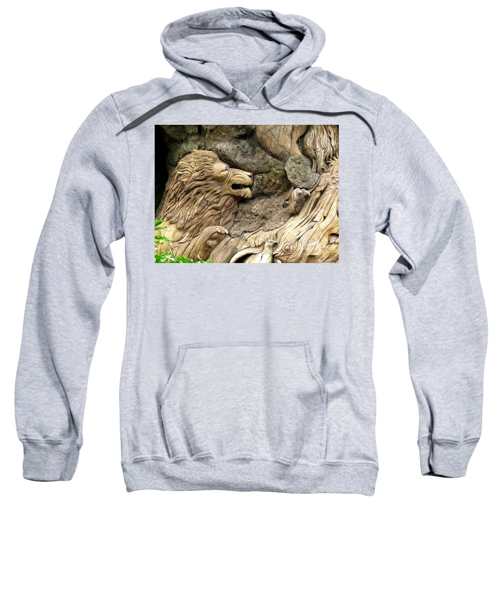 The Tree Of Life Sweatshirt featuring the photograph Lion On The Tree Of Life by Zina Stromberg
