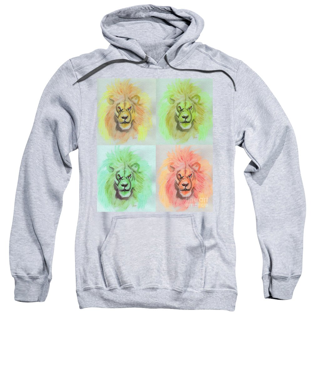 Lion Sweatshirt featuring the painting Lion X 4 by First Star Art
