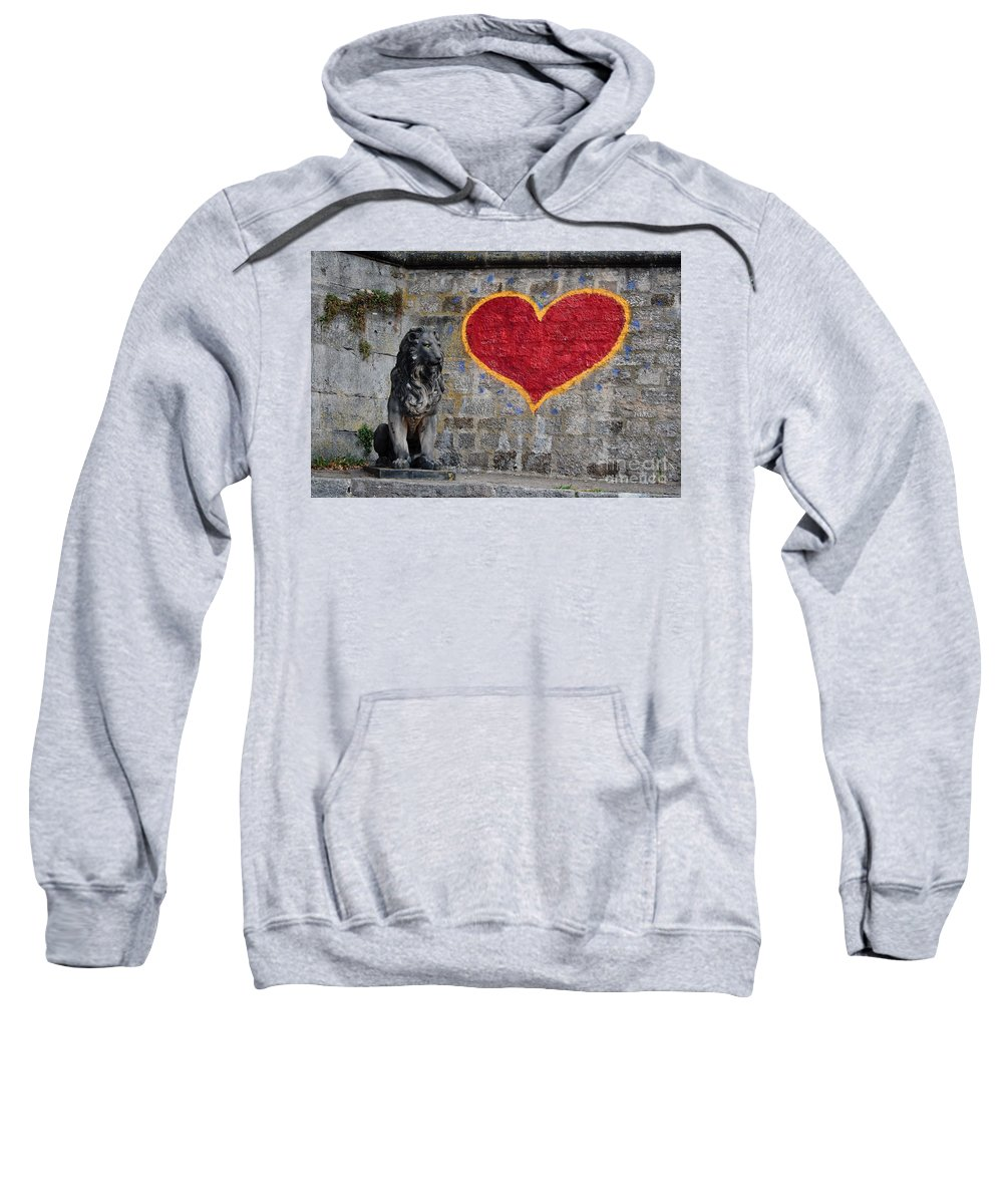 Statue Sweatshirt featuring the photograph Lionheart by Thomas Marchessault