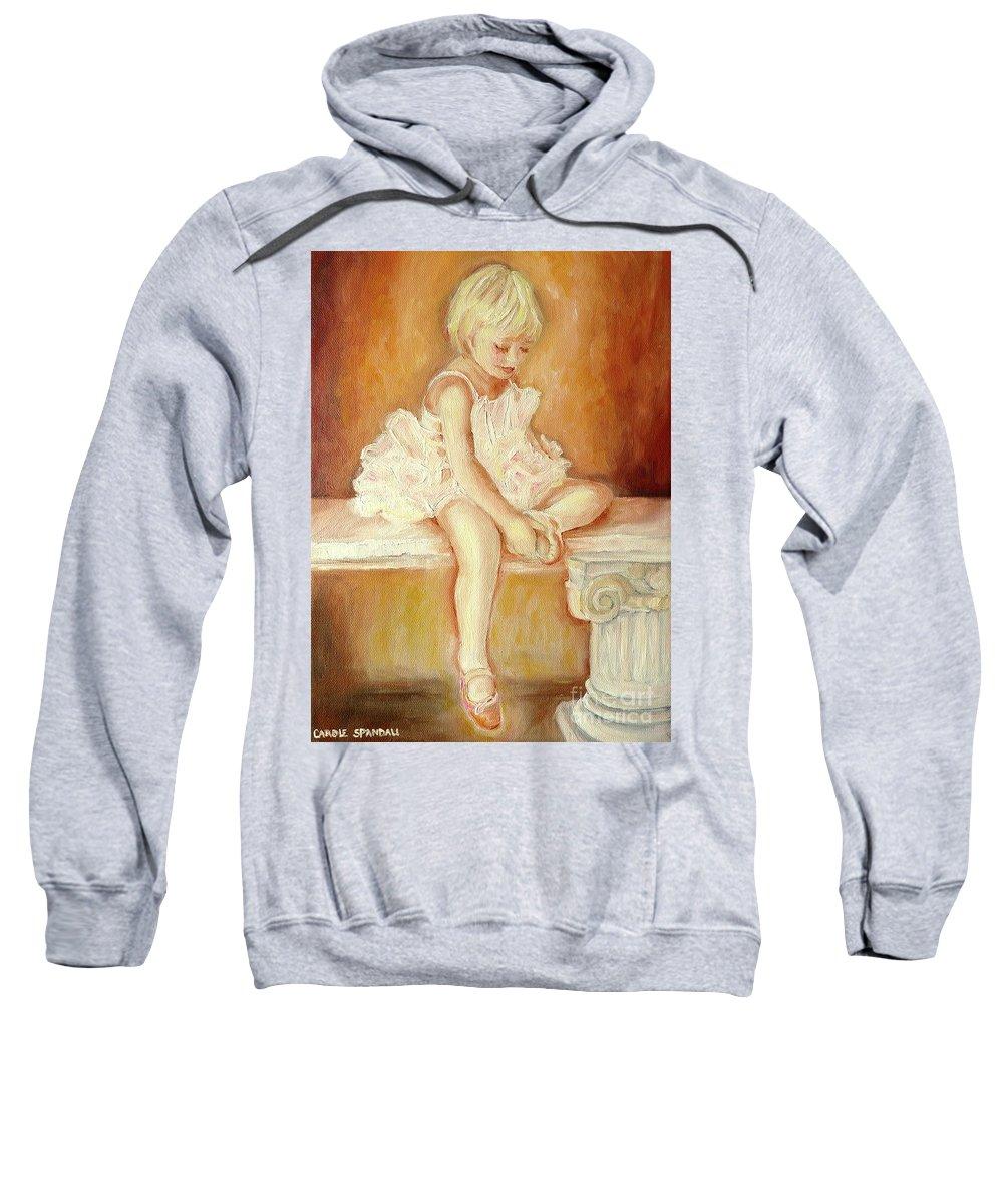 Ballerinas Sweatshirt featuring the painting Little Ballerina by Carole Spandau