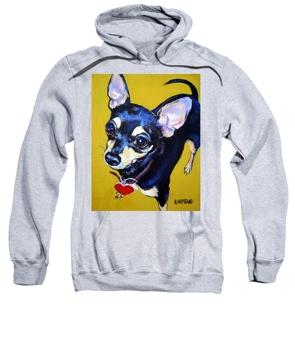 Chihuahua Sweatshirt featuring the painting Little Bitty Chihuahua by Rebecca Korpita