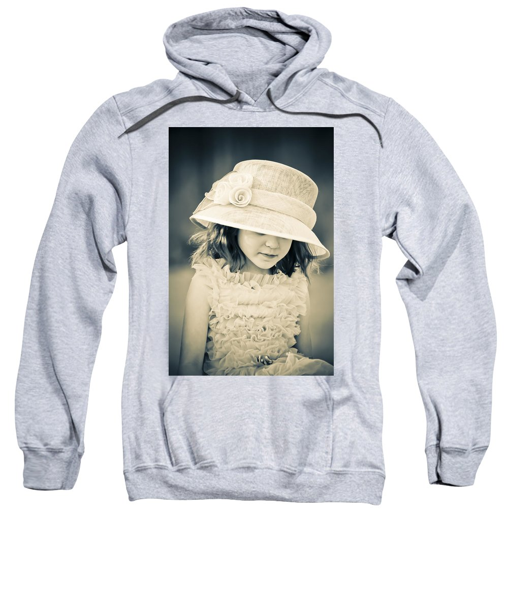 Girl Sweatshirt featuring the mixed media Little Lady by Trish Tritz