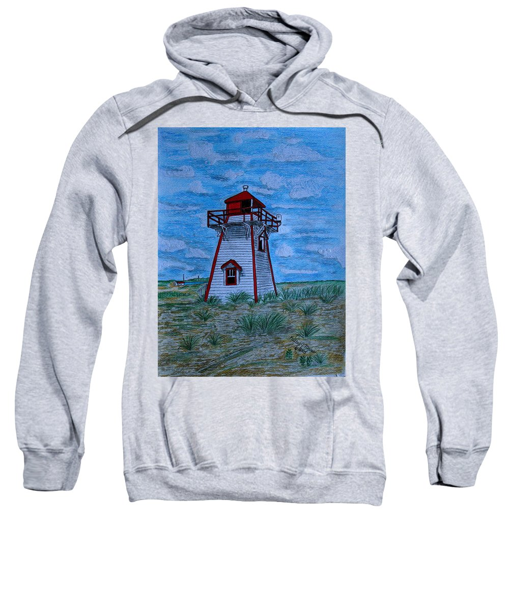 Red Sweatshirt featuring the painting Little Red And White Lighthouse by Kathy Marrs Chandler