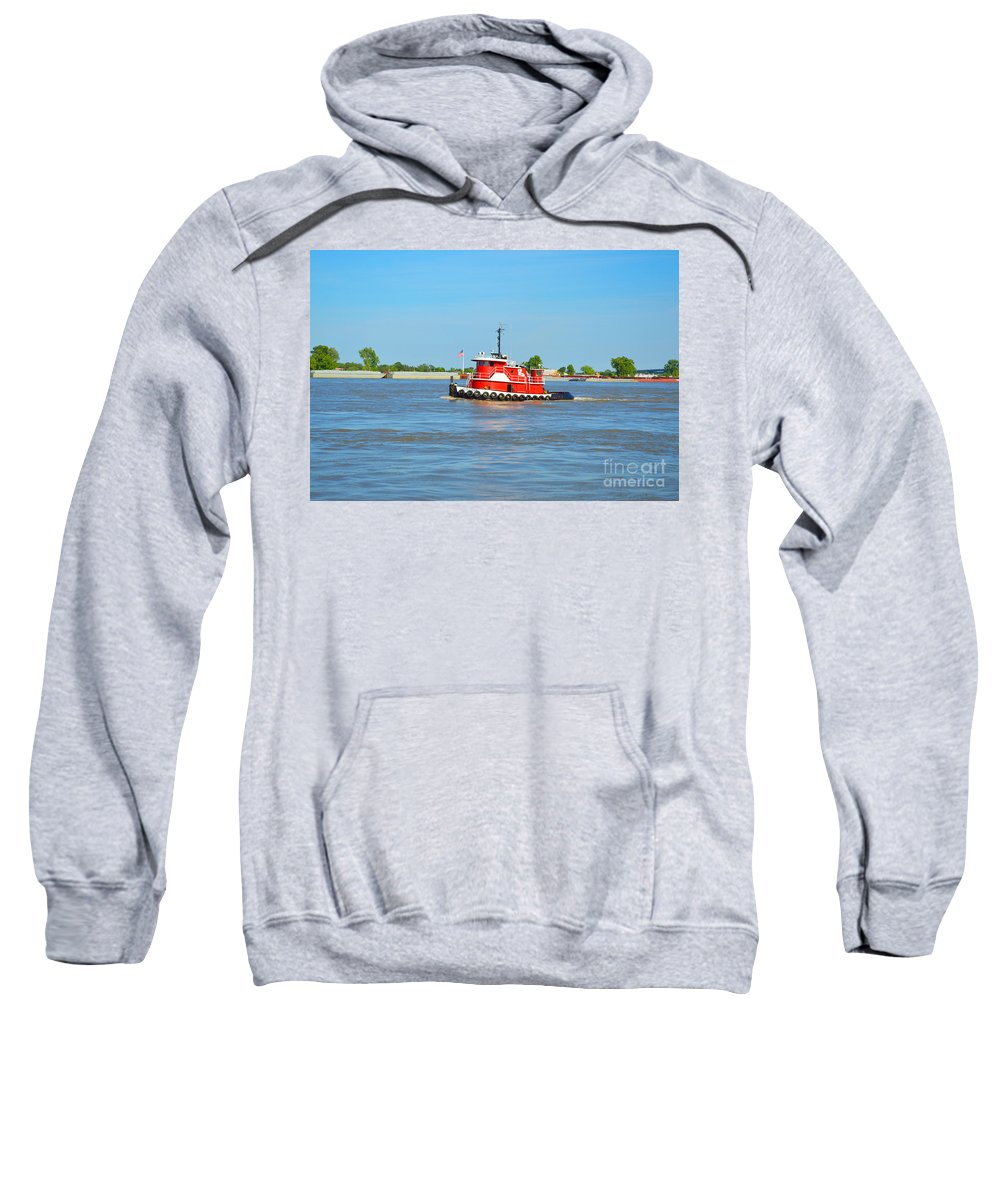 Boat Sweatshirt featuring the photograph Little Red Boat On The Mighty Mississippi by Alys Caviness-Gober