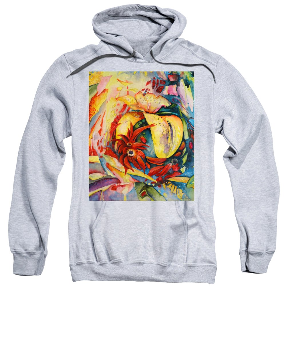 Floral Sweatshirt featuring the painting Little Red Devils by Miki De Goodaboom
