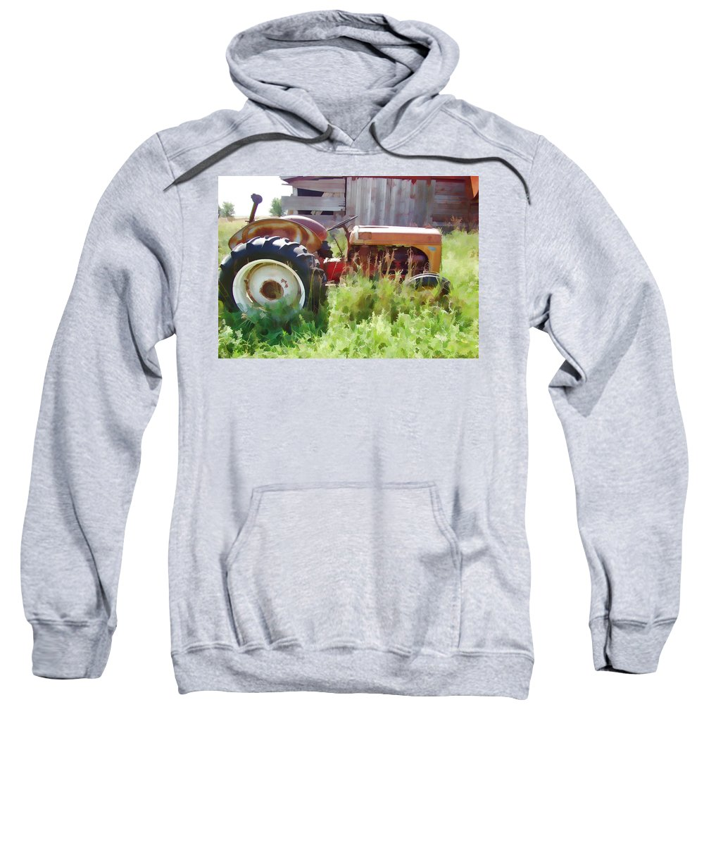 Tractor Sweatshirt featuring the photograph Little Red Tractor by Cathy Anderson