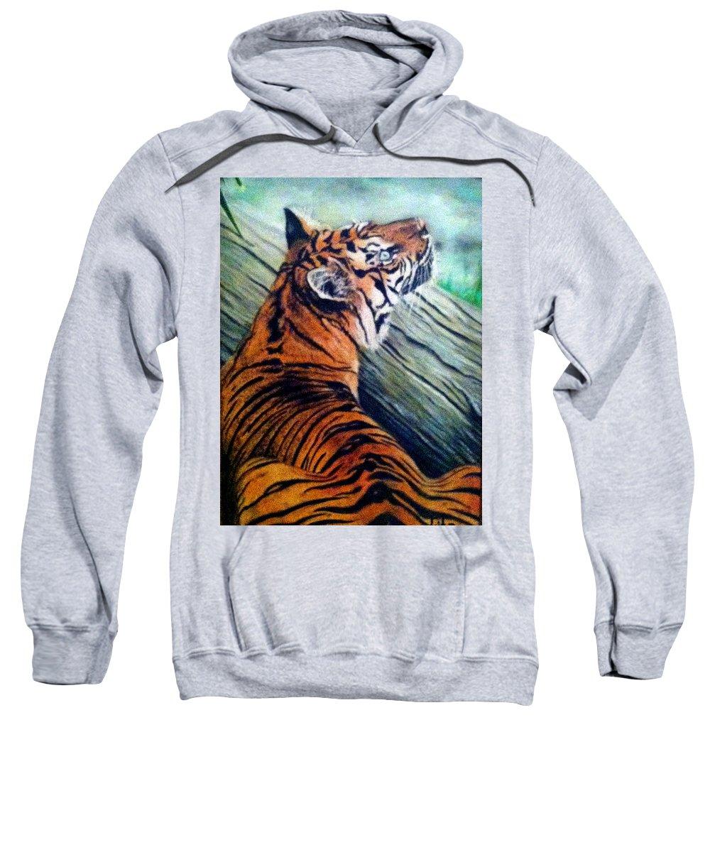Tiger Sweatshirt featuring the painting Little Rest by Lita Yulia Litvinova