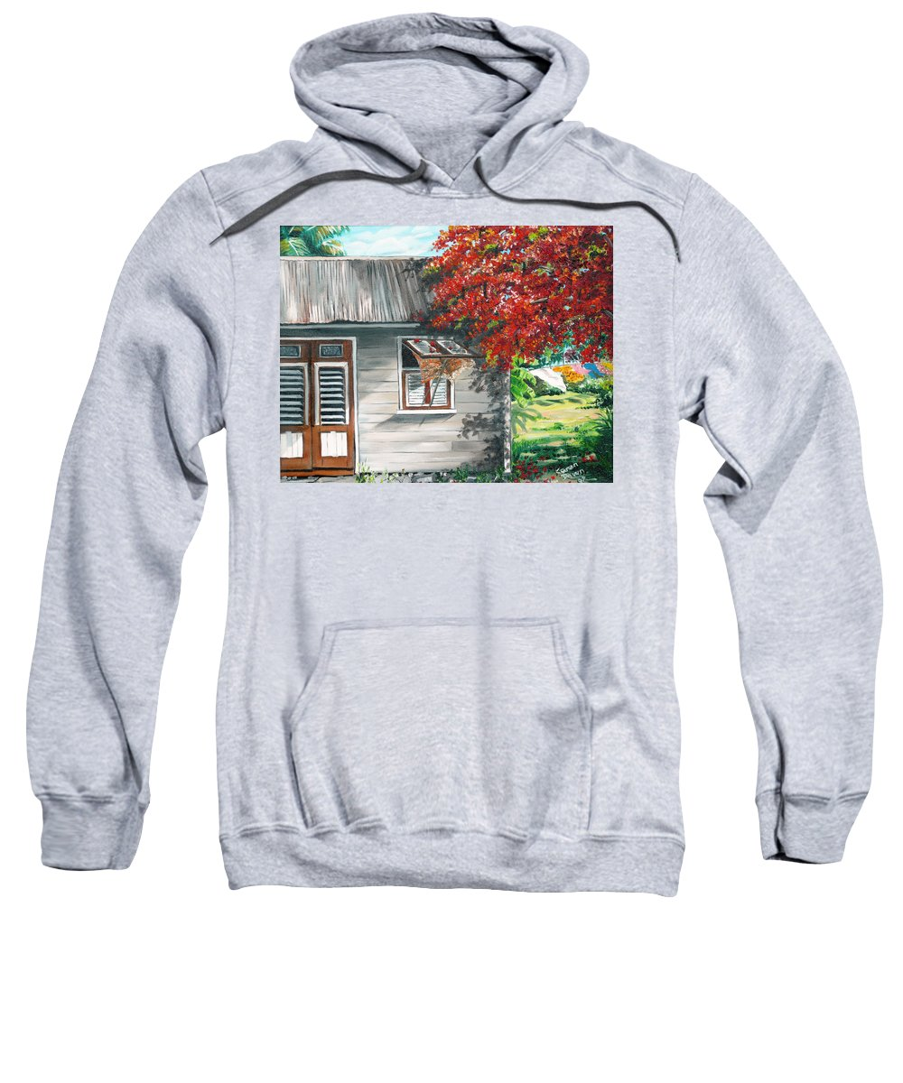 Caribbean Painting Typical Country House In The Caribbean Or West Indian Islands With Flamboyant Tree Tropical Painting Sweatshirt featuring the painting Little West Indian House 1 by Karin Dawn Kelshall- Best