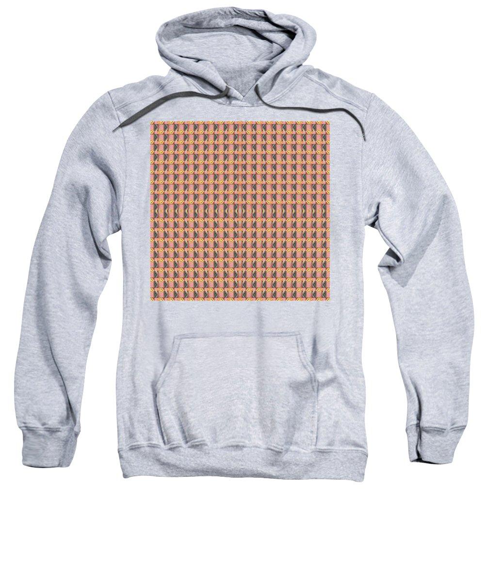 Symmetry Sweatshirt featuring the digital art Living In The Pink - Tile Arrangement 1 by Helena Tiainen