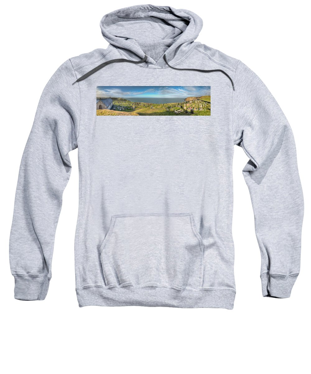 Anglesey Sweatshirt featuring the photograph Llanbadrig Church Panorama by Adrian Evans