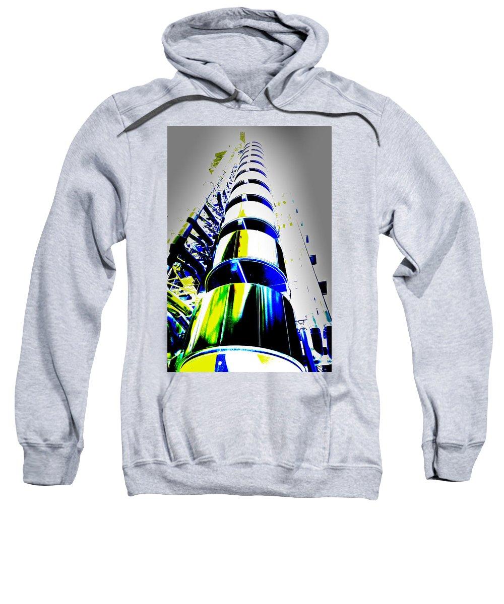 Abstract Sweatshirt featuring the digital art Lloyd's Building London Art by David Pyatt