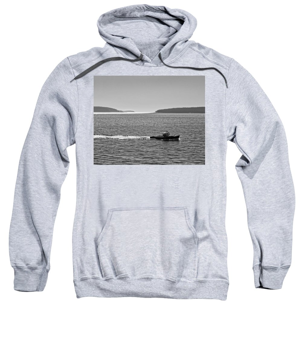 Acadia National Park Sweatshirt featuring the photograph Lobster Boat And Islands Off Acadia National Park In Maine by Keith Webber Jr