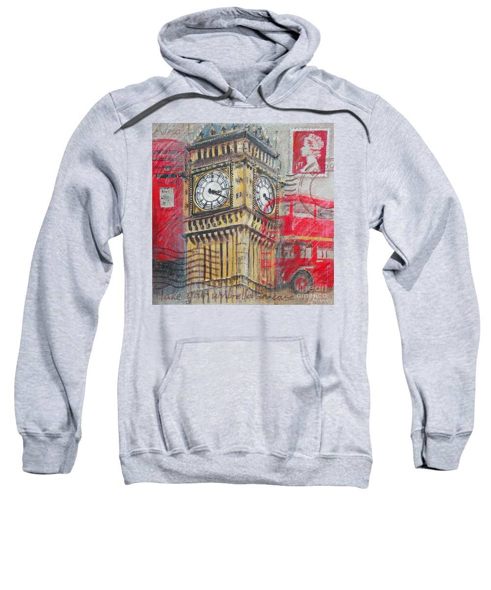 Big Ben Sweatshirt featuring the painting London Big Ben by Leigh Banks