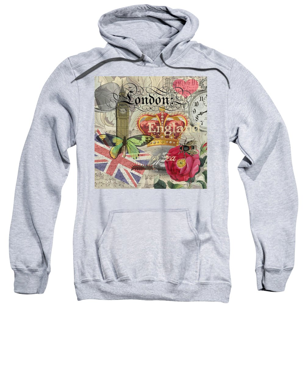 Doodlefly Sweatshirt featuring the digital art London England Vintage Travel Collage by Mary Hubley