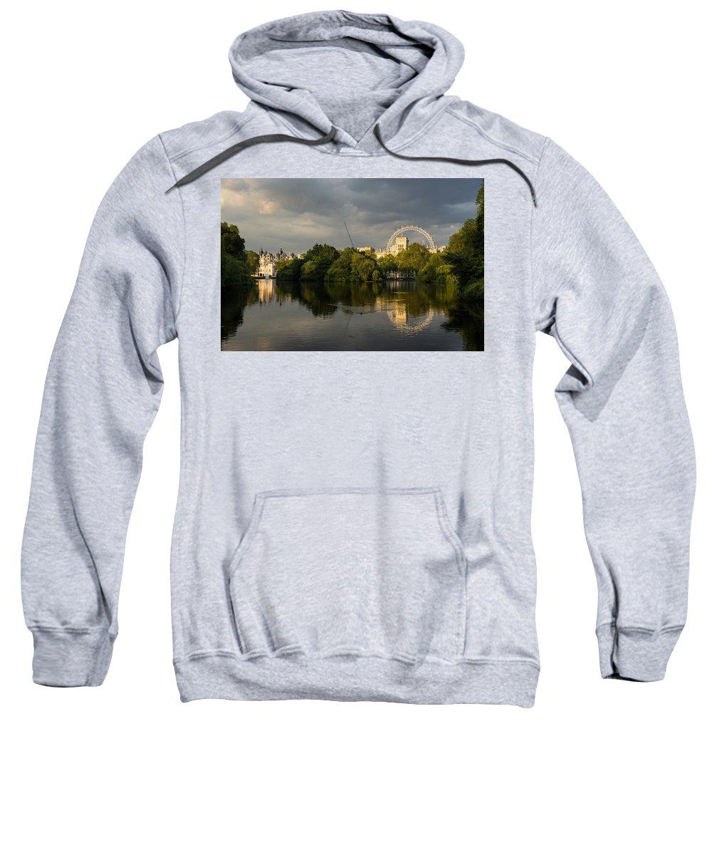 London Sweatshirt featuring the photograph London - Illuminated And Reflected by Georgia Mizuleva