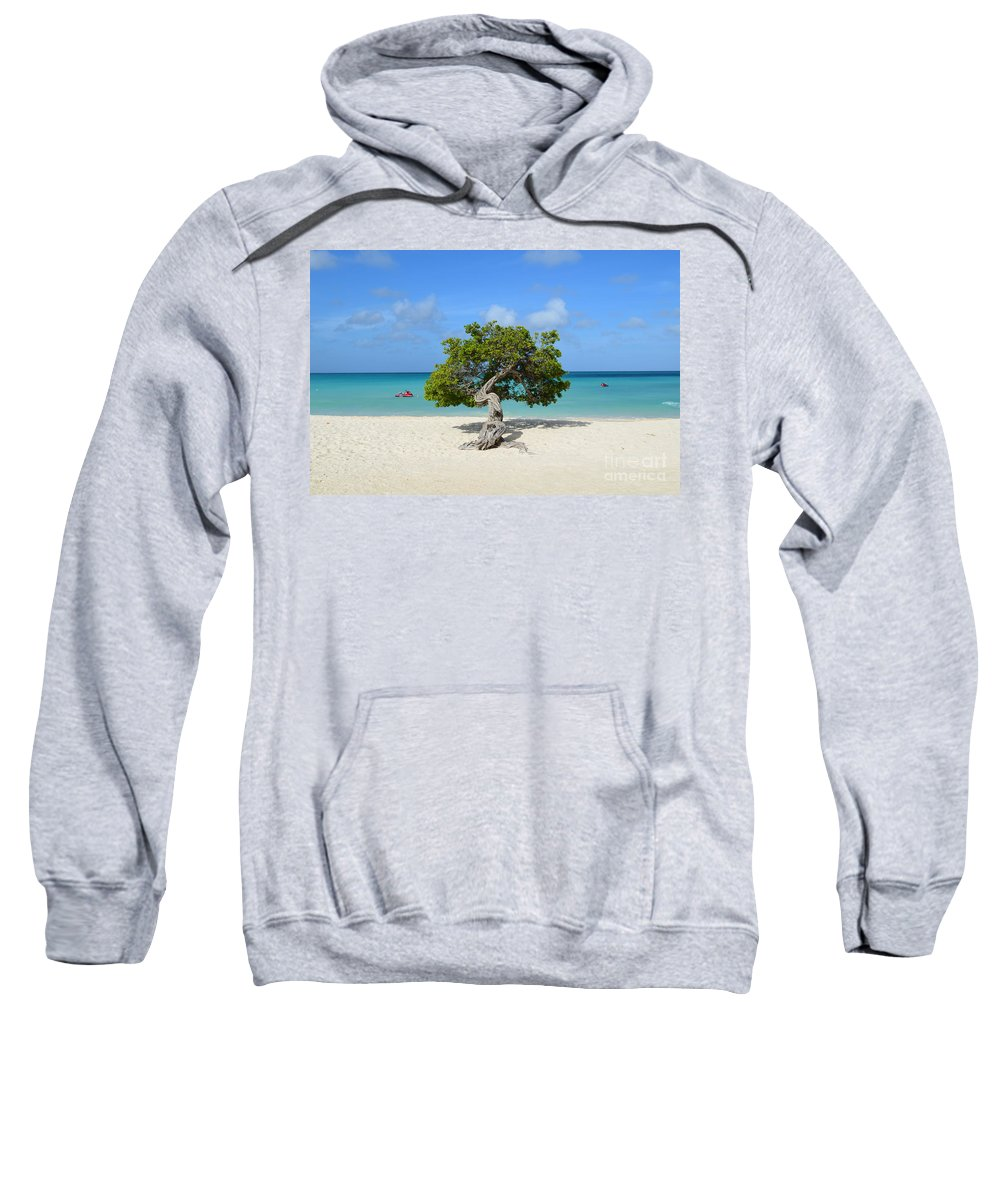 Divi Tree Sweatshirt featuring the photograph Lone Divi Tree In Aruba by DejaVu Designs