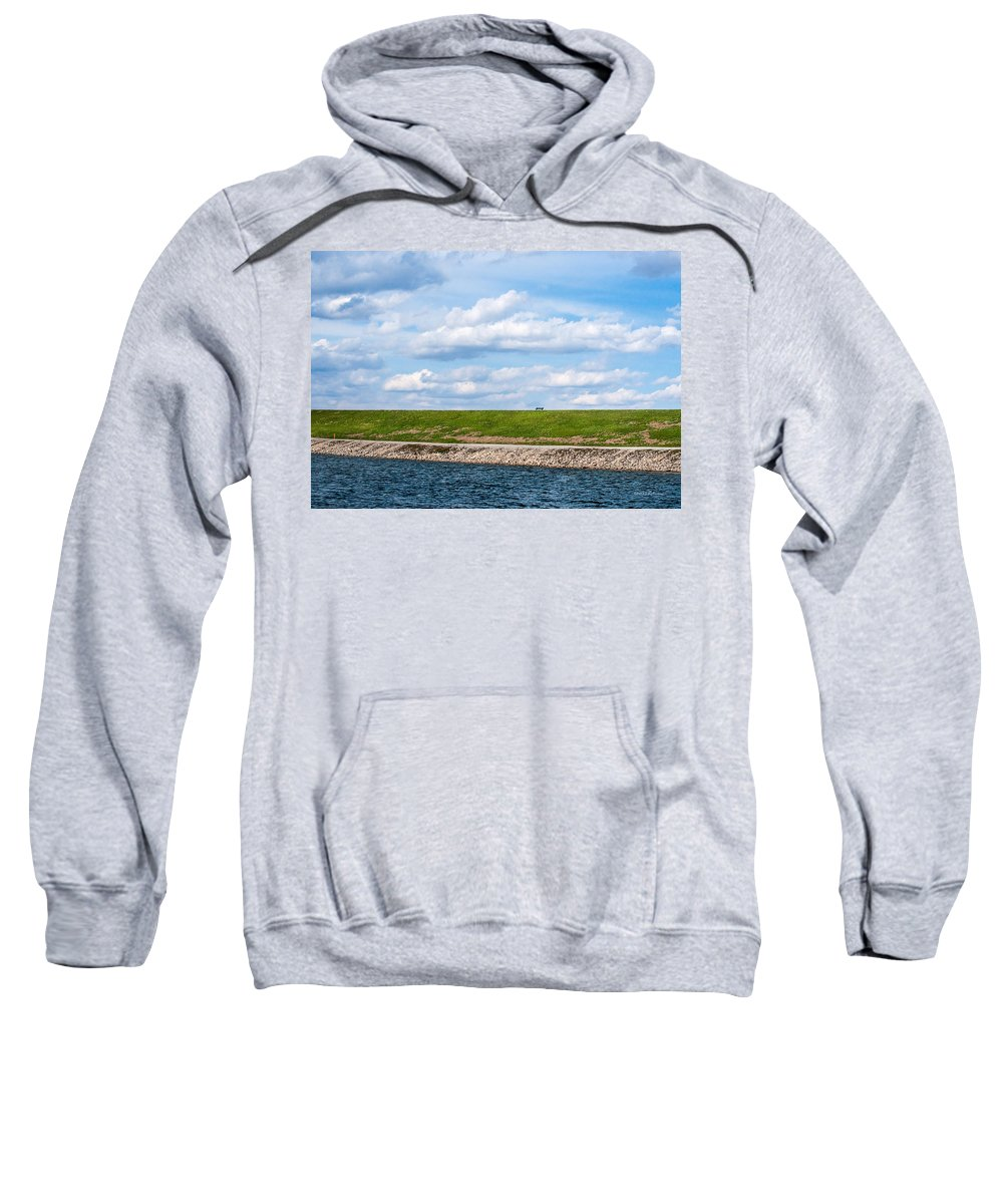 Lake Zorinsky Sweatshirt featuring the photograph Lonely Bench by Edward Peterson