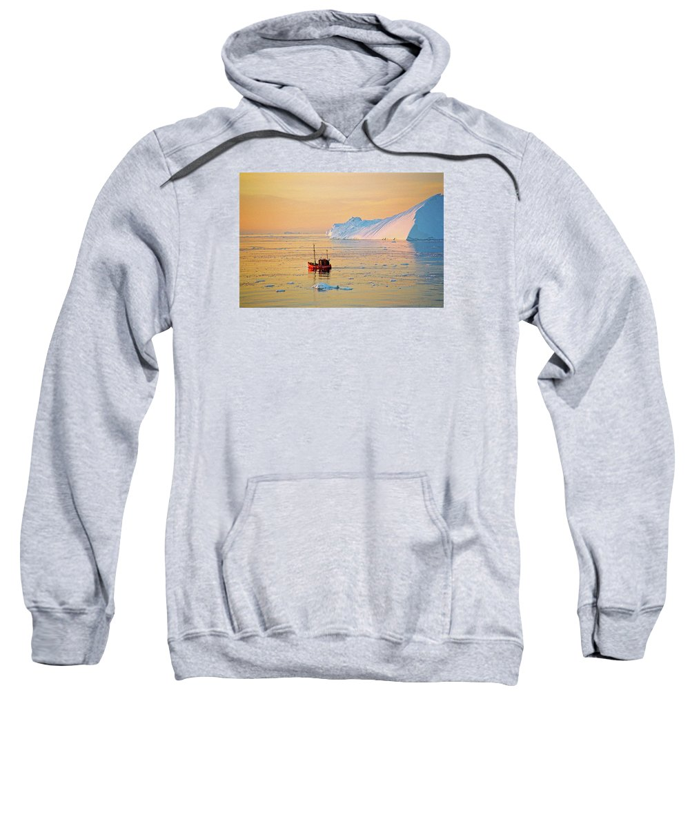 Greenland Sweatshirt featuring the photograph Lonely Boat - Greenland by Juergen Weiss