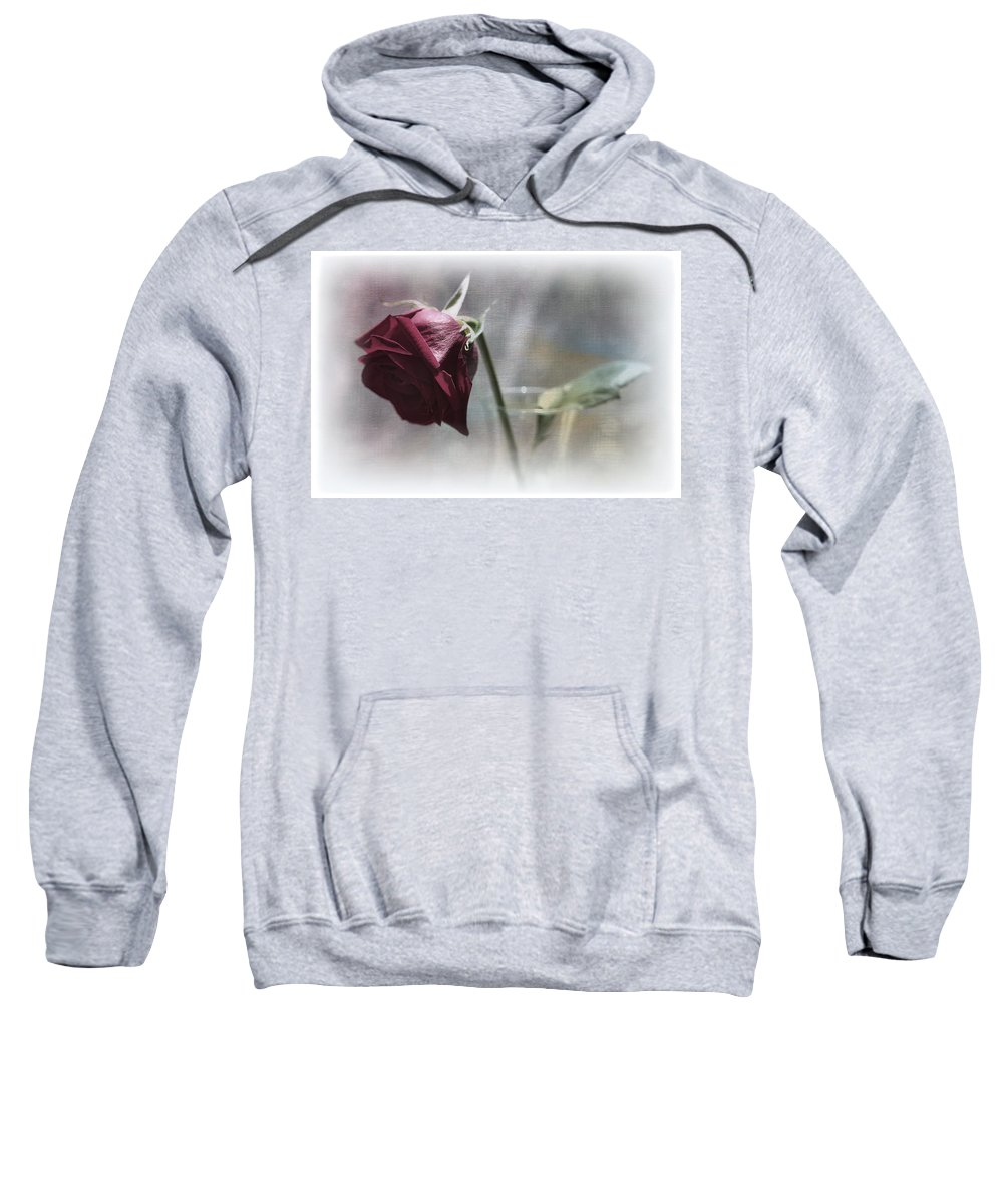 Botanicals Sweatshirt featuring the photograph Red Rose Still Life by Linda Dunn