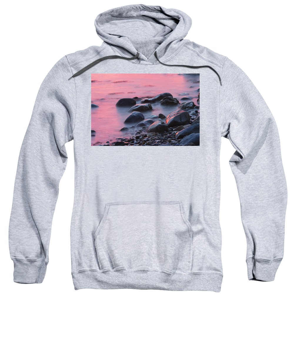 Maine Sweatshirt featuring the photograph Long Exsposure Of Rocks And Waves At Sunset Maine by Keith Webber Jr