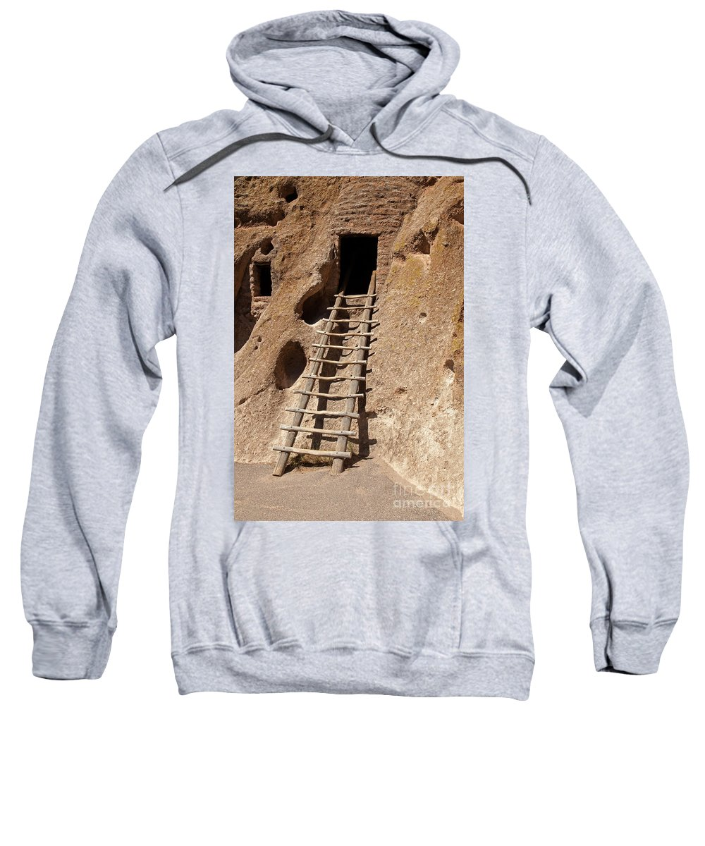 Afternoon Sweatshirt featuring the photograph Long House Front Door Bandelier National Monument by Fred Stearns