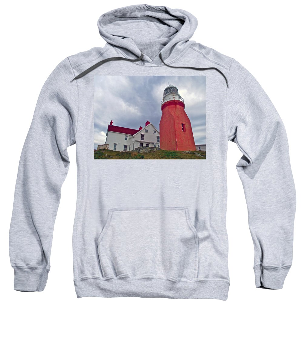 Long Point Lighthouse In Twillingate Sweatshirt featuring the photograph Long Point Lighthouse In Twillingate-nl by Ruth Hager