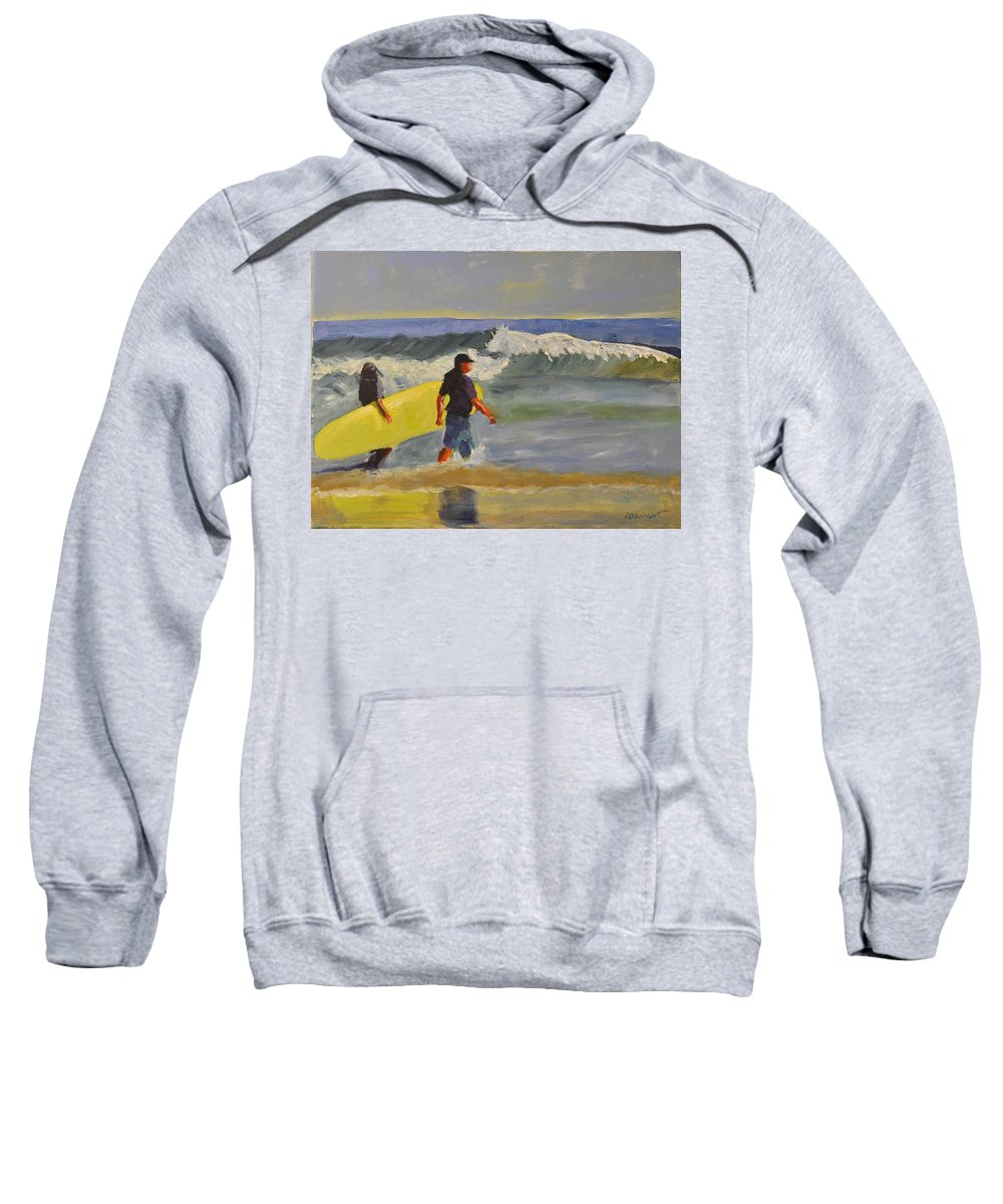 Wright Sweatshirt featuring the painting Longboard by Paulette B Wright