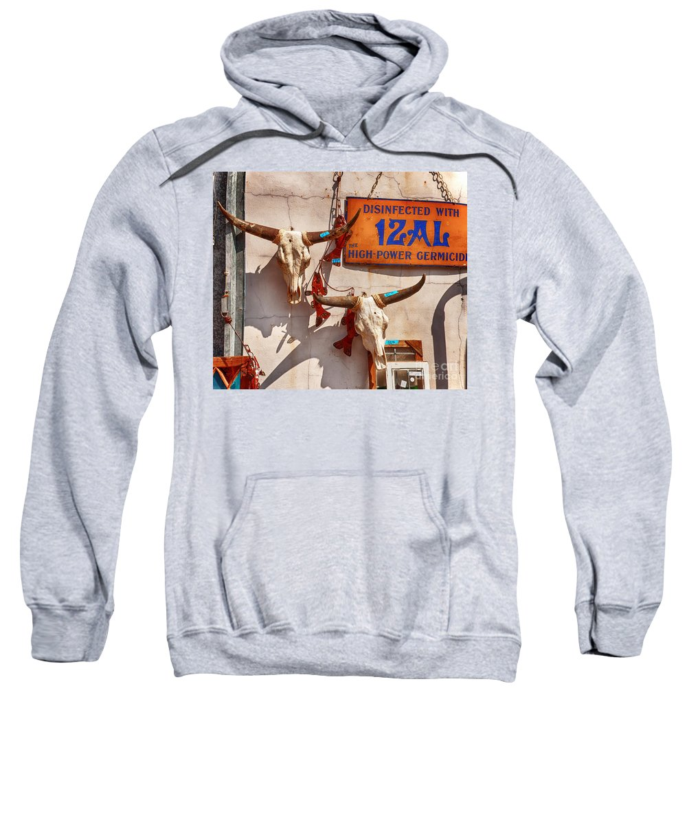 Cattle Sweatshirt featuring the photograph Longhorn Skulls On The Wall by Kathleen K Parker
